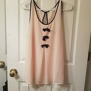 Sheer pink top with bows, 2x